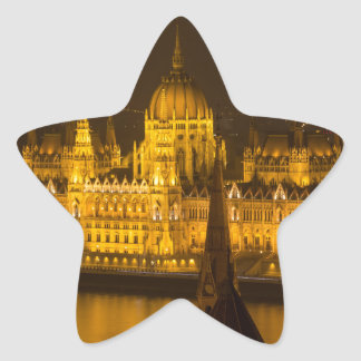 Pegatina En Forma De Estrella El parlamento húngaro Budapest por noche
