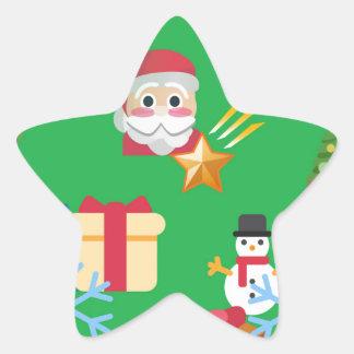 Pegatina En Forma De Estrella emoji verde del navidad