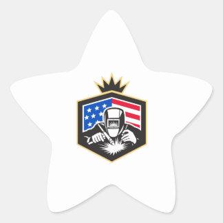 Pegatina En Forma De Estrella Escudo de la bandera de los E.E.U.U. de la
