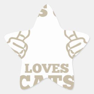 Pegatina En Forma De Estrella Este individuo ama gatos