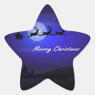 Pegatina En Forma De Estrella Felices Navidad de la luna del trineo de Santa