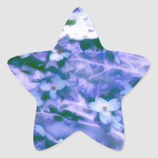 Pegatina En Forma De Estrella Flor blanco del Dogwood en azul
