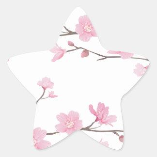 Pegatina En Forma De Estrella Flor de cerezo - Transparente-Fondo