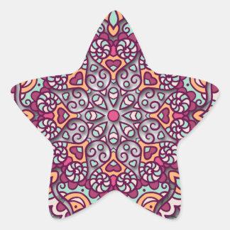 Pegatina En Forma De Estrella Floral Mandala