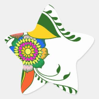 Pegatina En Forma De Estrella flower mandala2