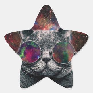 Pegatina En Forma De Estrella Gafas que llevan del gato del espacio delante de
