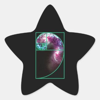Pegatina En Forma De Estrella Galaxia espiral de Fibonacci