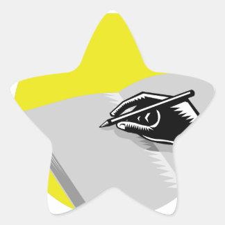 Pegatina En Forma De Estrella Grabar en madera del círculo del diario de la