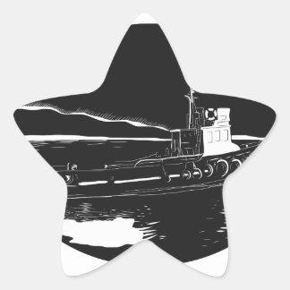 Pegatina En Forma De Estrella Grabar en madera del óvalo del remolcador del río