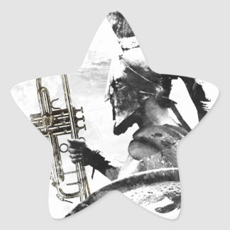 Pegatina En Forma De Estrella Guerrero de la trompeta