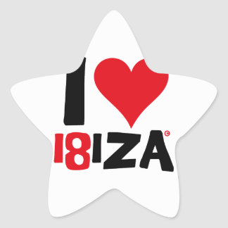 Pegatina En Forma De Estrella I love Ibiza 18IZA Edición Especial 2018