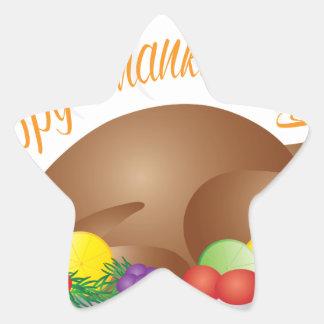 Pegatina En Forma De Estrella Ilustracion cocido día de la cena de Turquía de la