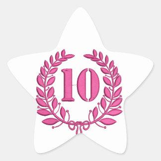Pegatina En Forma De Estrella imitación de 10 enhorabuena del bordado