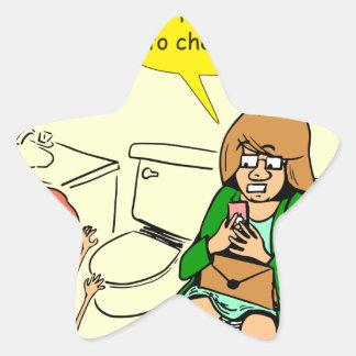 Pegatina En Forma De Estrella La abuela 903 está comprobando el dibujo animado