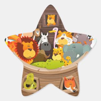 Pegatina En Forma De Estrella La arca de Noah con los animales de la selva