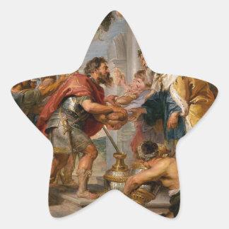 Pegatina En Forma De Estrella La reunión de Abraham y del arte de Melchizedek