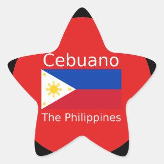 Pegatina En Forma De Estrella Lengua de Cebuano y bandera de Filipinas