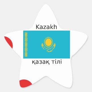 Pegatina En Forma De Estrella Lengua del Kazakh y diseño de la bandera de