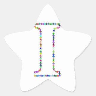 Pegatina En Forma De Estrella Letra I de la estrella del arco iris