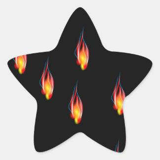 Pegatina En Forma De Estrella Llamas del fuego