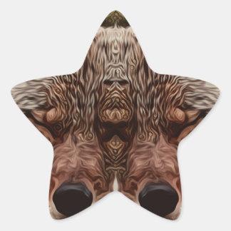 Pegatina En Forma De Estrella Lobo psicodélico