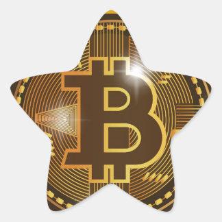 Pegatina En Forma De Estrella Logotipo de Bitcoin y diseño frescos del gráfico