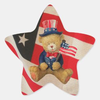 Pegatina En Forma De Estrella Los E.E.U.U. señalan el oso de peluche por medio