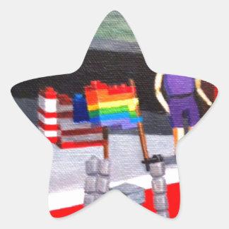 Pegatina En Forma De Estrella Los E.E.U.U. y banderas del orgullo hechas de
