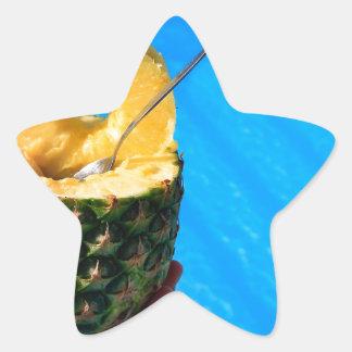 Pegatina En Forma De Estrella Mano que sostiene la piña fresca sobre piscina