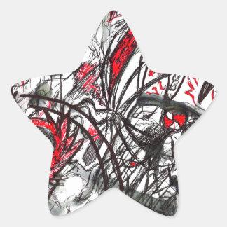 Pegatina En Forma De Estrella Manos del dibujo de la pluma de la rabia