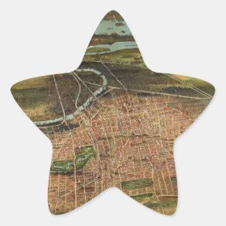 Pegatina En Forma De Estrella Mapa de Newark 1916