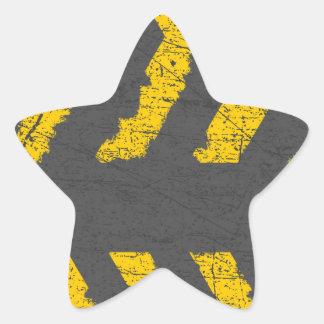 Pegatina En Forma De Estrella Marca de camino amarilla apenada Grunge