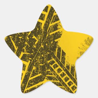 Pegatina En Forma De Estrella Marca de camino negra apenada Grunge de la pista