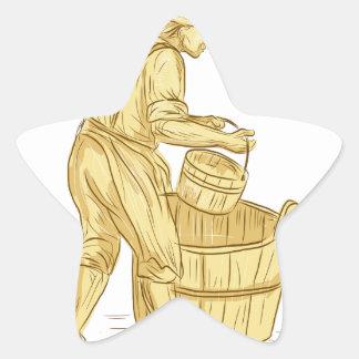 Pegatina En Forma De Estrella Miller medieval con el dibujo del cubo