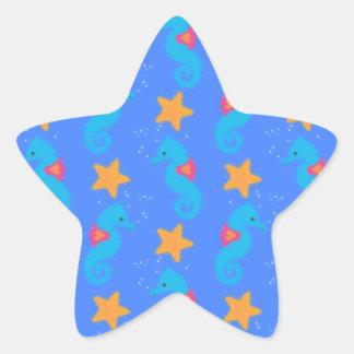 Pegatina En Forma De Estrella Modelo azul de los Seahorses y de las estrellas de