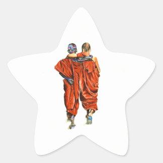 Pegatina En Forma De Estrella Monjes budistas