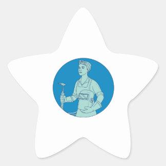 Pegatina En Forma De Estrella Mono línea del soldador de la antorcha femenina de