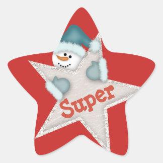 Pegatina En Forma De Estrella Muñeco de nieve estupendo de la estrella