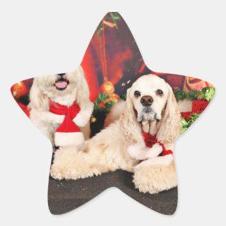 Pegatina En Forma De Estrella Navidad - cocker - Toby, Havanese - poco T