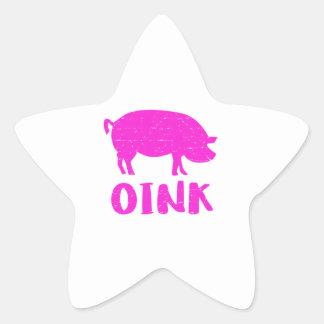 Pegatina En Forma De Estrella Oink cerdo