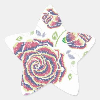 Pegatina En Forma De Estrella Ornamento color de rosa púrpura del bordado