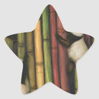 Pegatina En Forma De Estrella Pandas que suben el bambú
