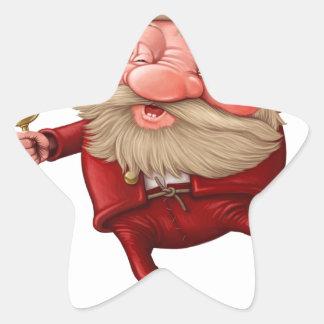 Pegatina En Forma De Estrella Papá Noel y el baile de la campana