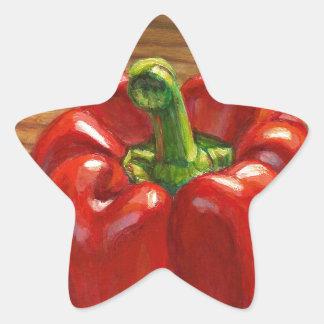 Pegatina En Forma De Estrella Paprika Rojo