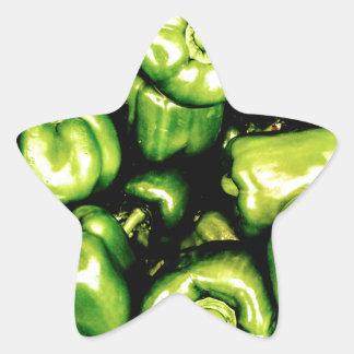 Pegatina En Forma De Estrella Paprikas Verdes