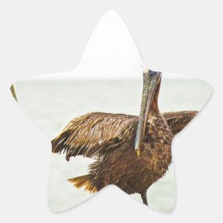 Pegatina En Forma De Estrella Pelícanos encaramados en los postes