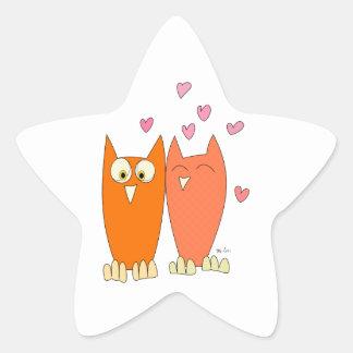 Pegatina En Forma De Estrella Pequeños búhos lindos