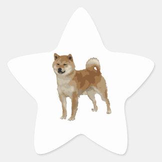 Pegatina En Forma De Estrella Perro de Shiba Inu