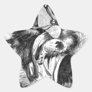 Pegatina En Forma De Estrella Perro que monta una cabra