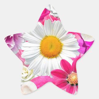 Pegatina En Forma De Estrella Pink flowers_ Gloria Sanchez
